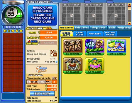 bingo liner 75 ball online bingo game