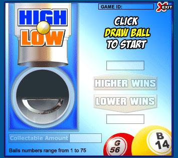 bingo liner high low online instant win game