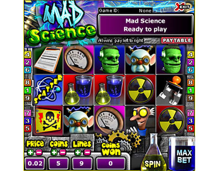 bingo liner mad science 5 reel online slots game