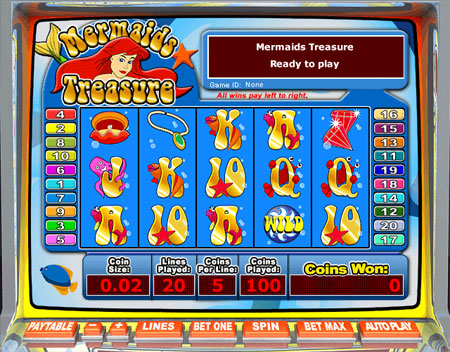 bingo liner mermaids treasure 5 reel online slots game