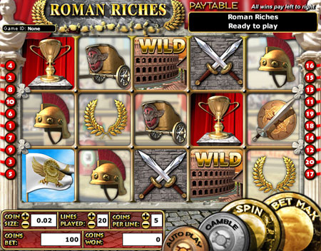 bingo liner roman riches 5 reel online slots game